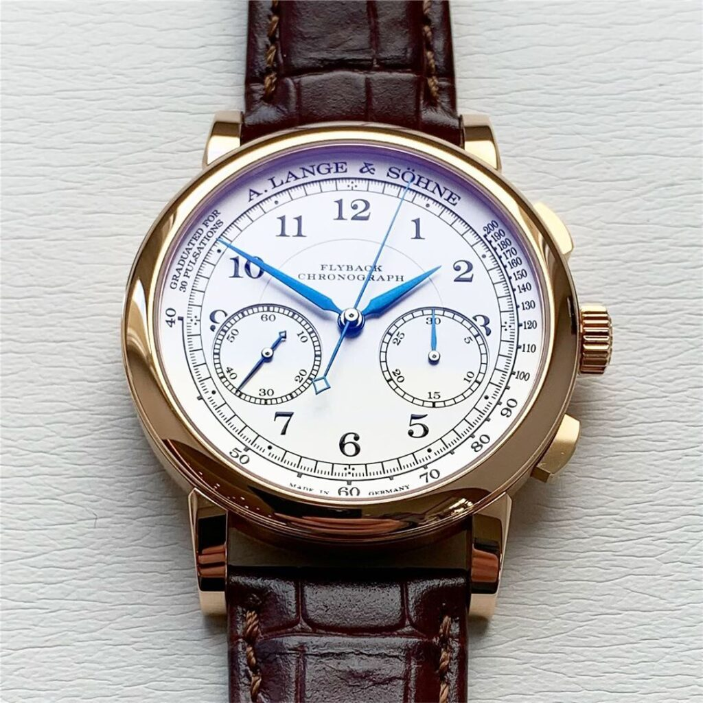 a lange sohne 1815 chronograph pink gold white dial 414.032 blue hands