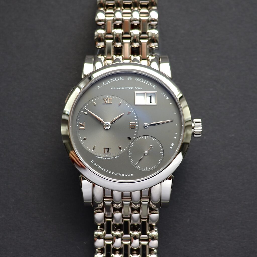 a lange söhne lange 1 watch with grey dial and bracelet reference 101.330 wellendorff