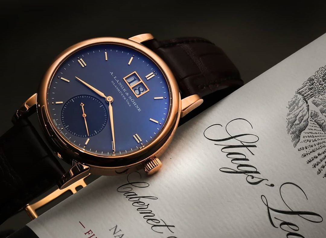 a lange söhne saxonia automatic pink gold grey dial 315.033 rare