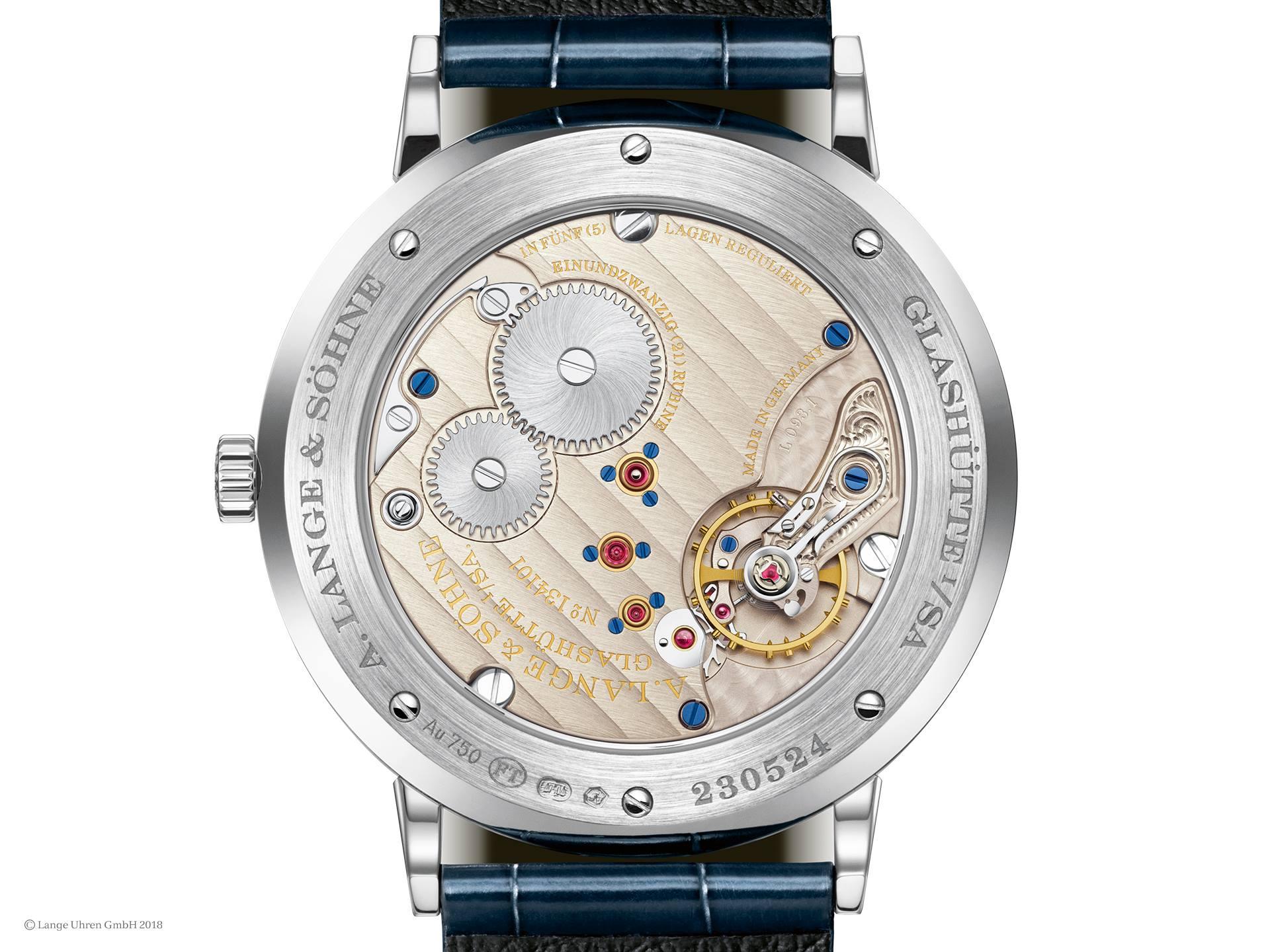 a lange söhne saxonia thin aventurine blue dial white gold caliber l093.1 review