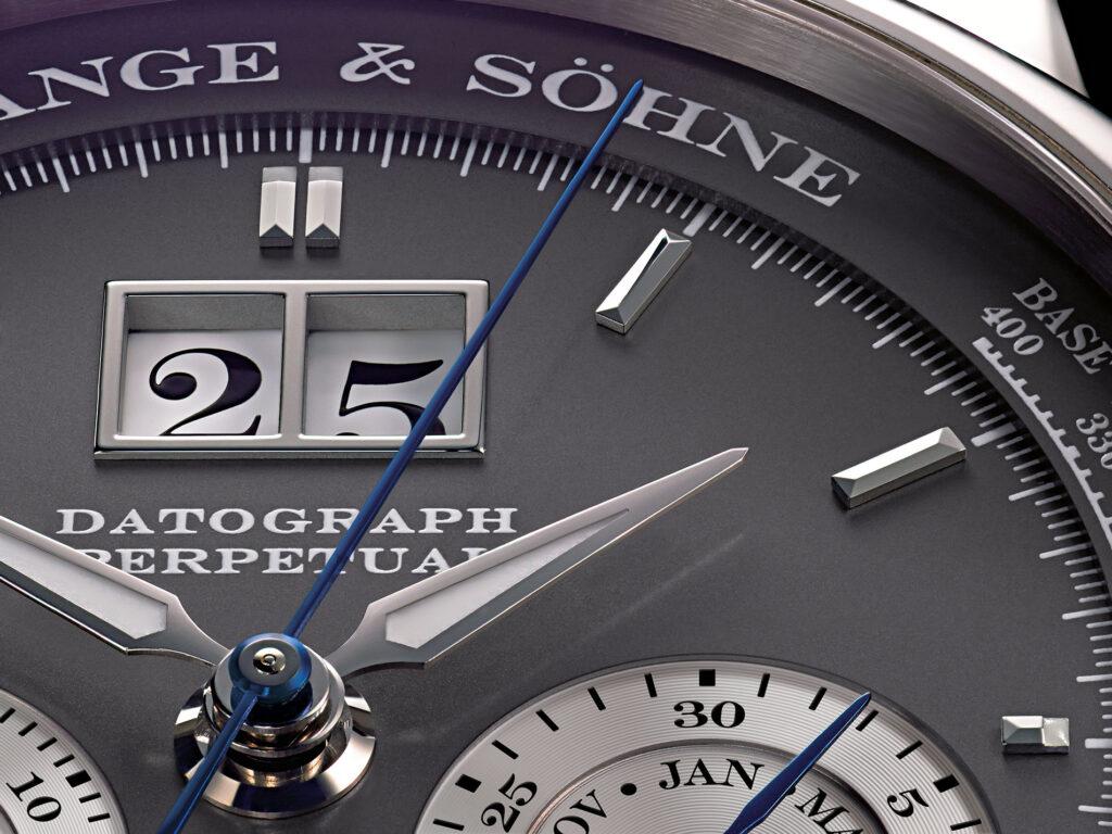 A Lange söhne Datograph Perpetual  calendar white gold second generation 410.038 dial details