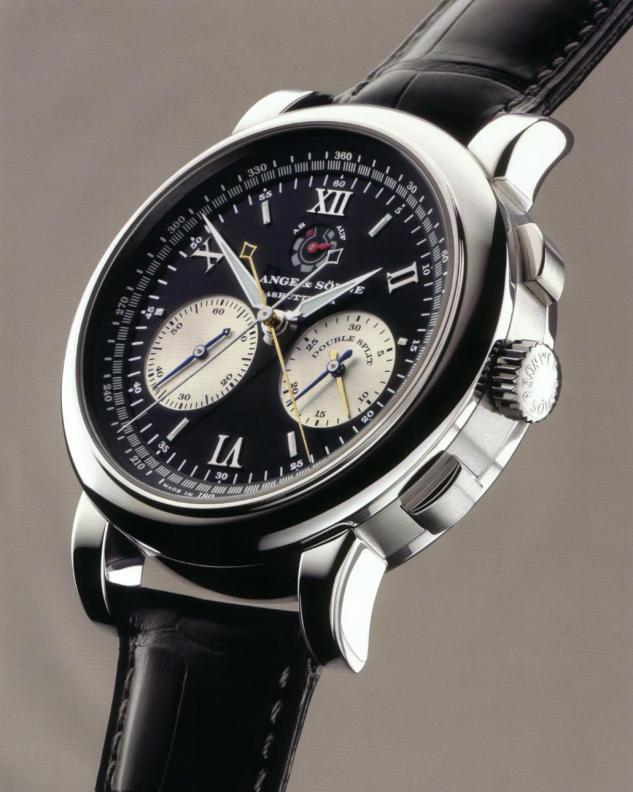 a lange söhne double split rattrapante chronograph platinum 404.035 original dial design 2004 43 mm review