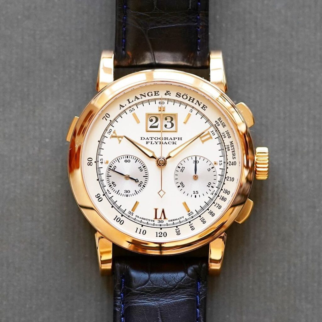 a lange söhne datograph pink gold silver dial 39 mm 403.032 rare review