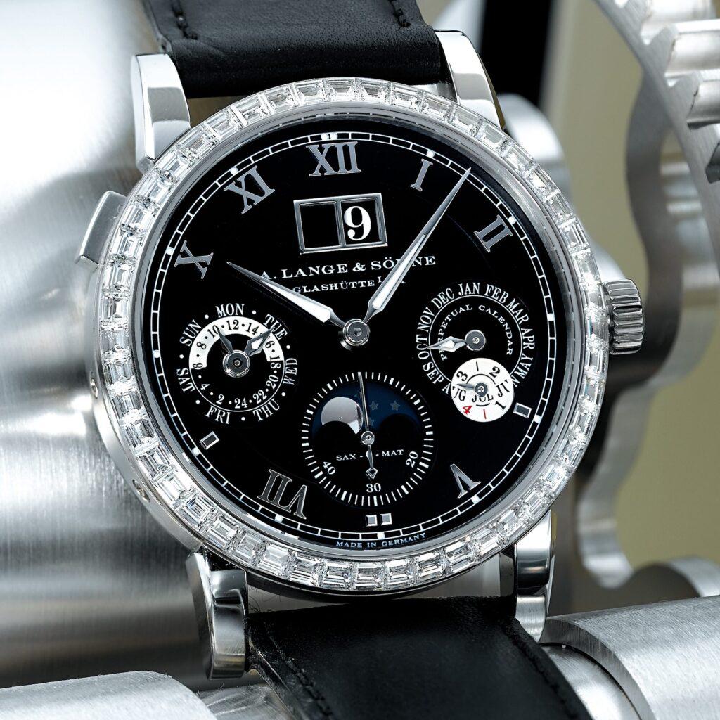 a lange söhne langematik perpetual unique piece platinum black dial diamonds sotheby's