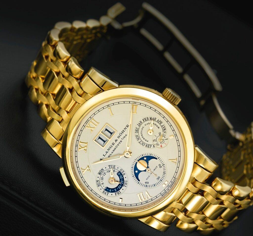 a lange söhne langematik perpetual yellow gold wellendorff bracelet 310.221