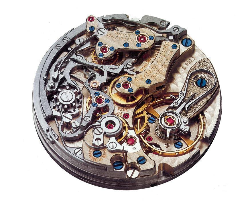 a lange söhne caliber l951.1 datograph flyback chronograph minute counter hand engraved balance cock 403.035