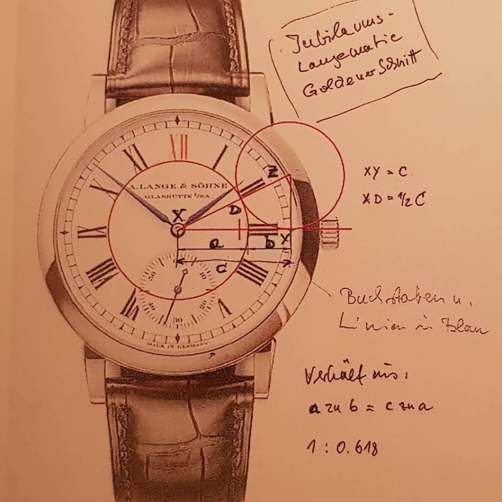 a lange Söhne langematik anniversary 302.025 platinum enamel dial design principles blue print