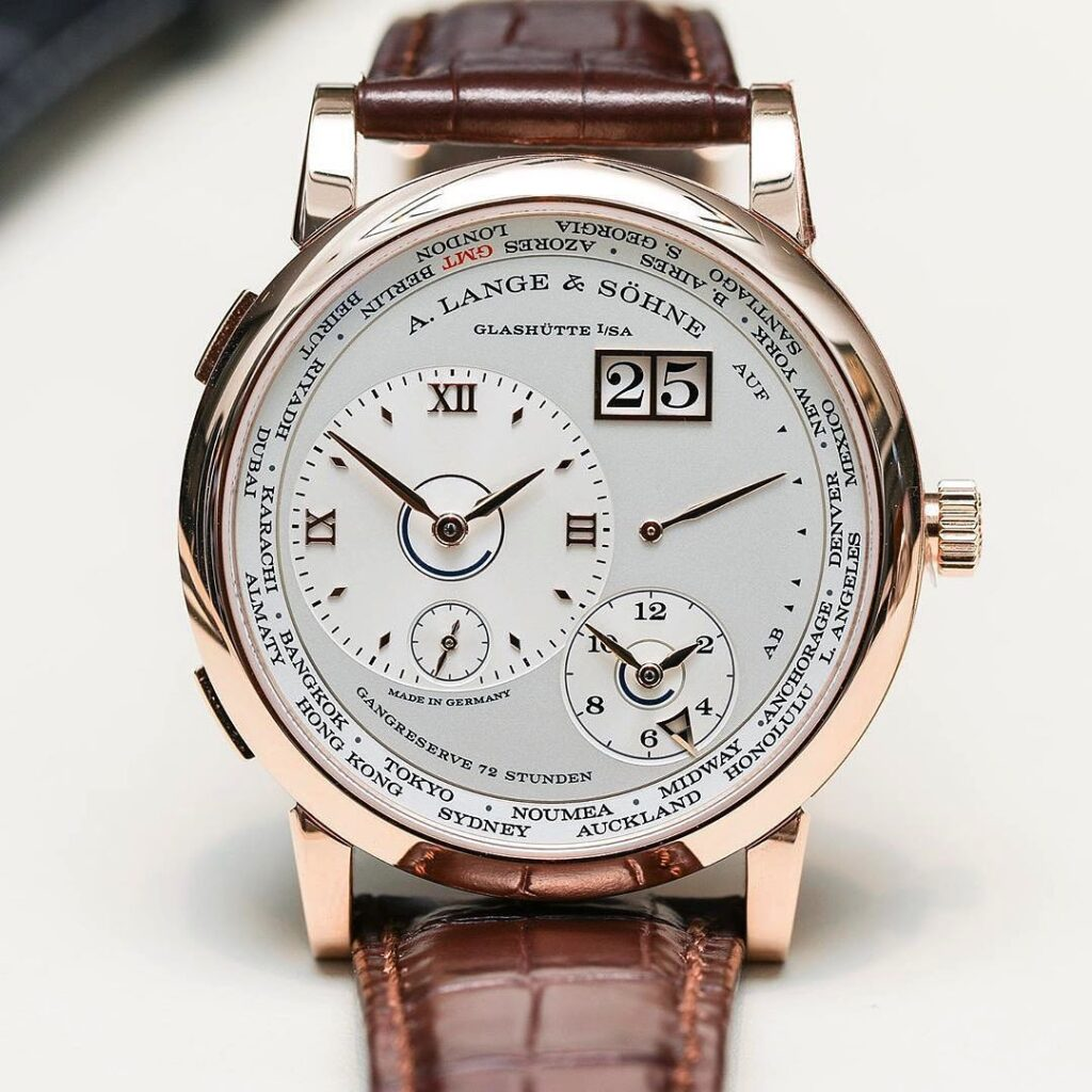 A Lange Sohne new Lange 1 Timezone daylight saving pink gold silver dial 136.032 review