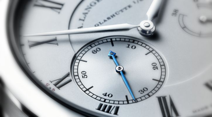 A Lange Söhne referenzuhr platinum case 250.025 special edition blue seconds hand dial