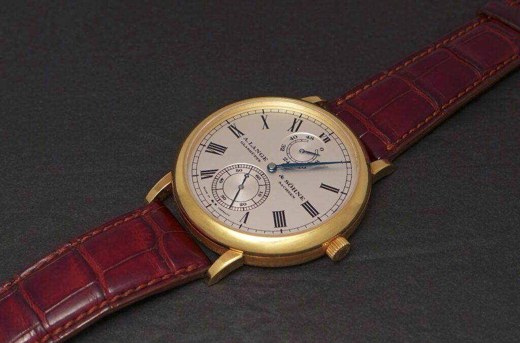 a lange söhne grosse langematik gangreserve wempe edition yellow gold 304.048 marine chronometer dial inspiration