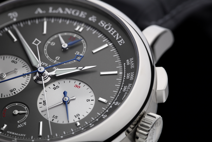 a lange söhne triple split chronograph 424.028 grey dial white gold details