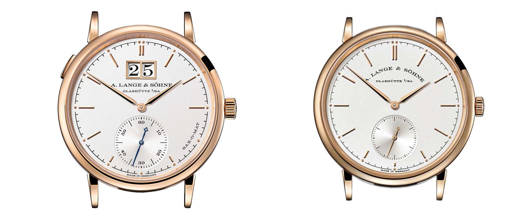 A Lange Söhne Saxonia automatic 308.047 and 308.032 dial comparison
