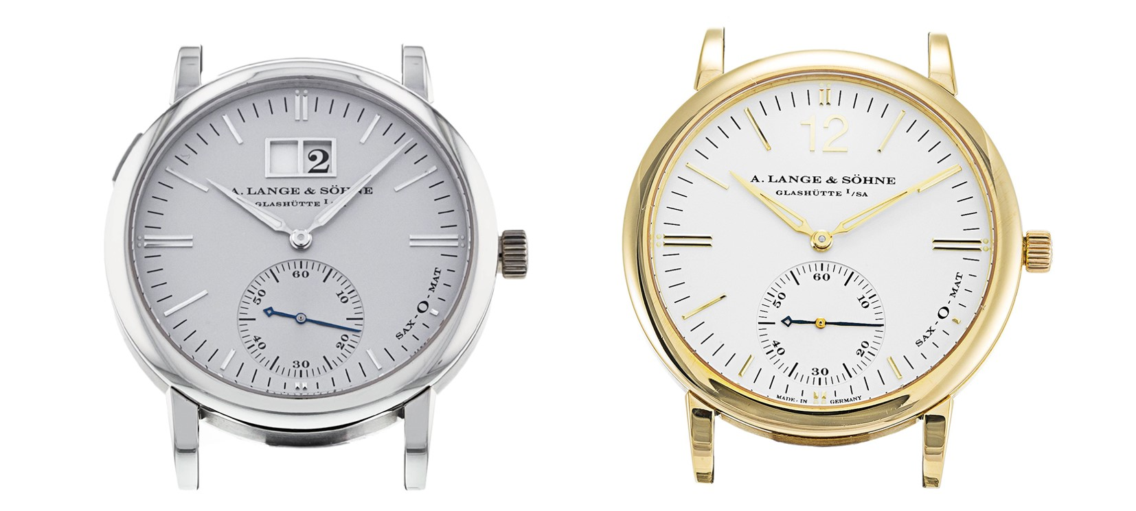Langematik big date and no date 308.025 platinum and 3012.021 yellow gold comparison