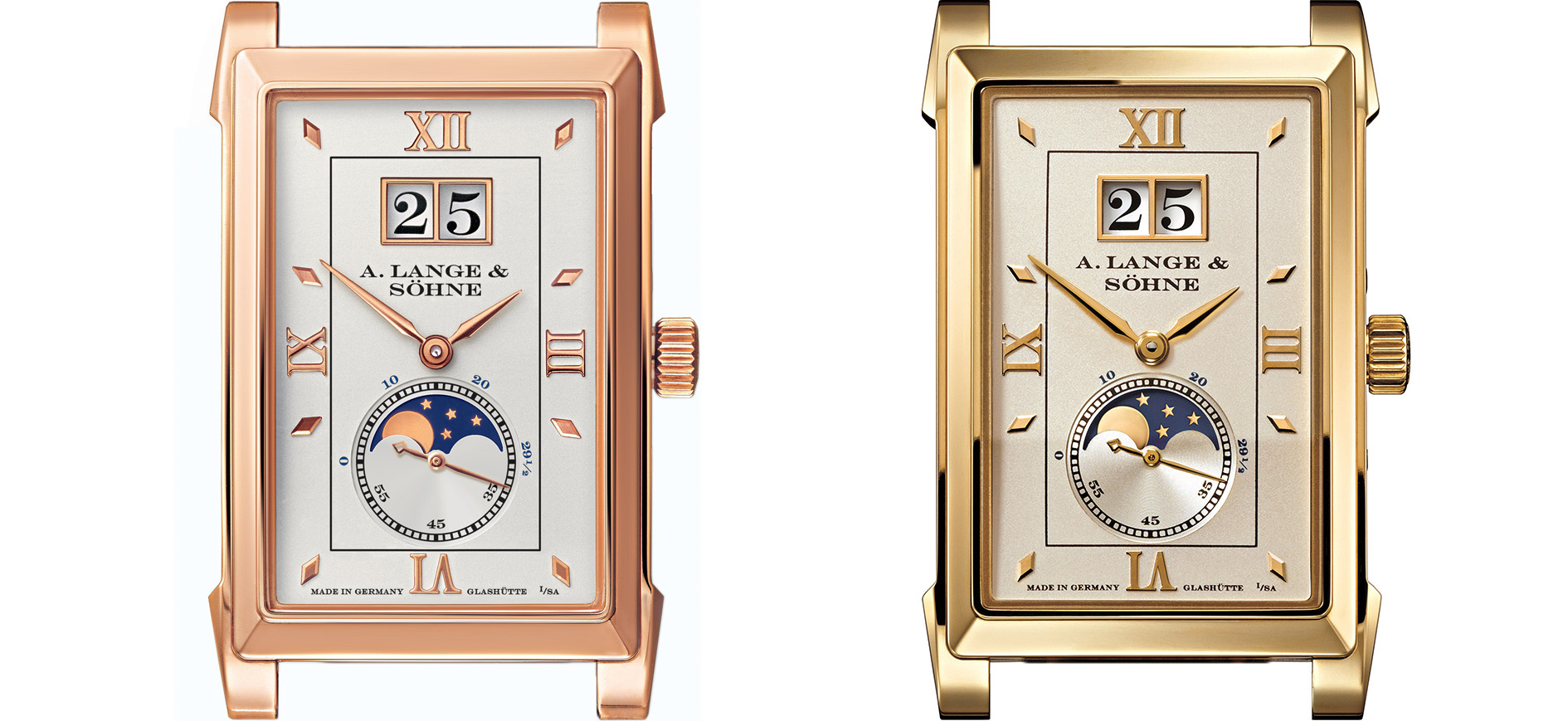 a lange söhne cabaret moonphase pink gold yellow gold reference 118.021 and 118.032