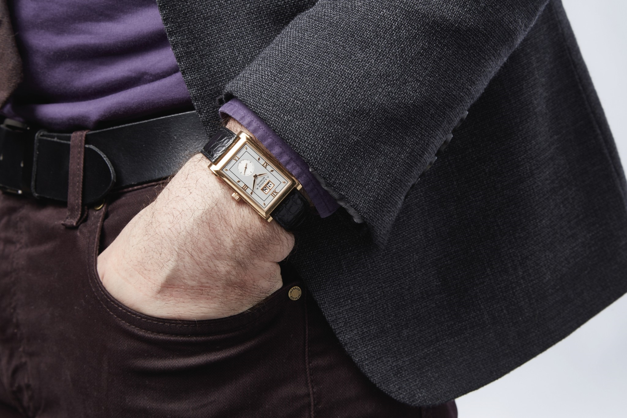 a lange söhne cabaret yellow gold 107.021 on the wrist by sotheby's