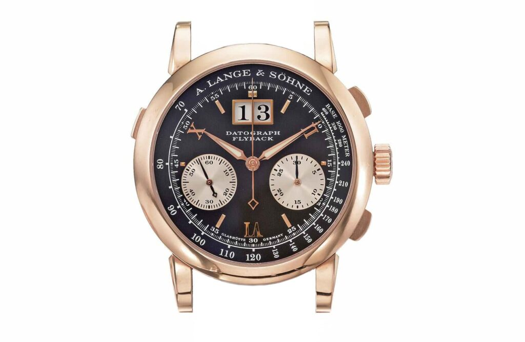 a lange söhne datograph pink gold black dial dufourgraph reference 403.031