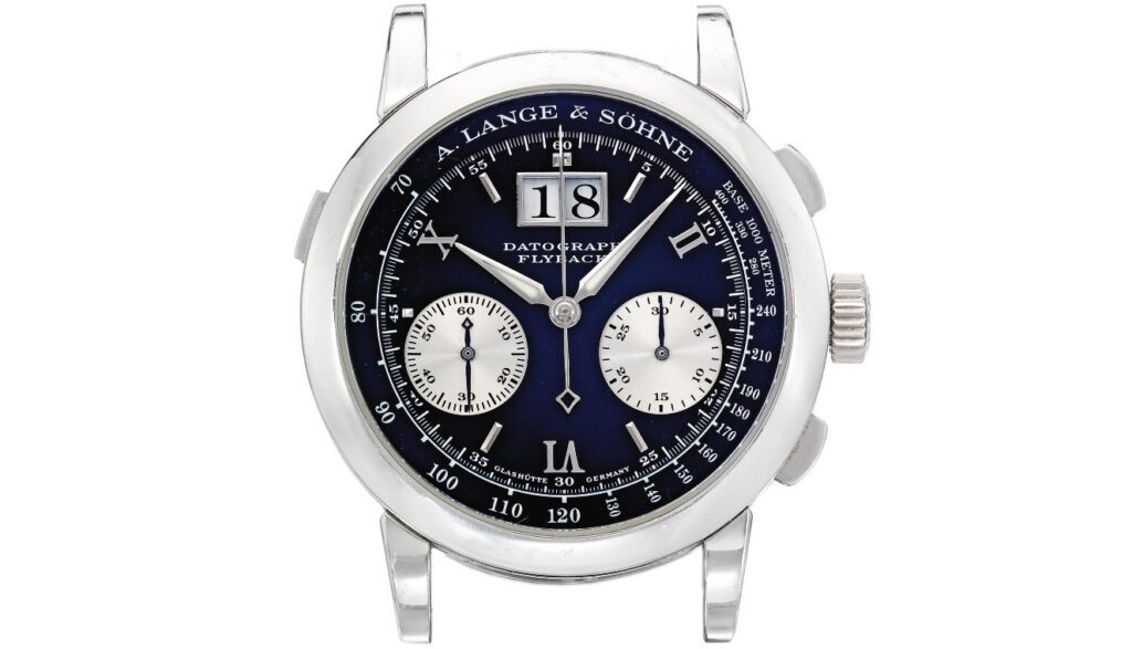 A Lange Söhne Datograph in platinum case with black dial reference 403.035