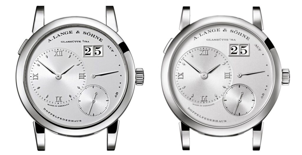 a lange söhne lange 1 watch 190.025 and 101.025 side by side comparison platinum case