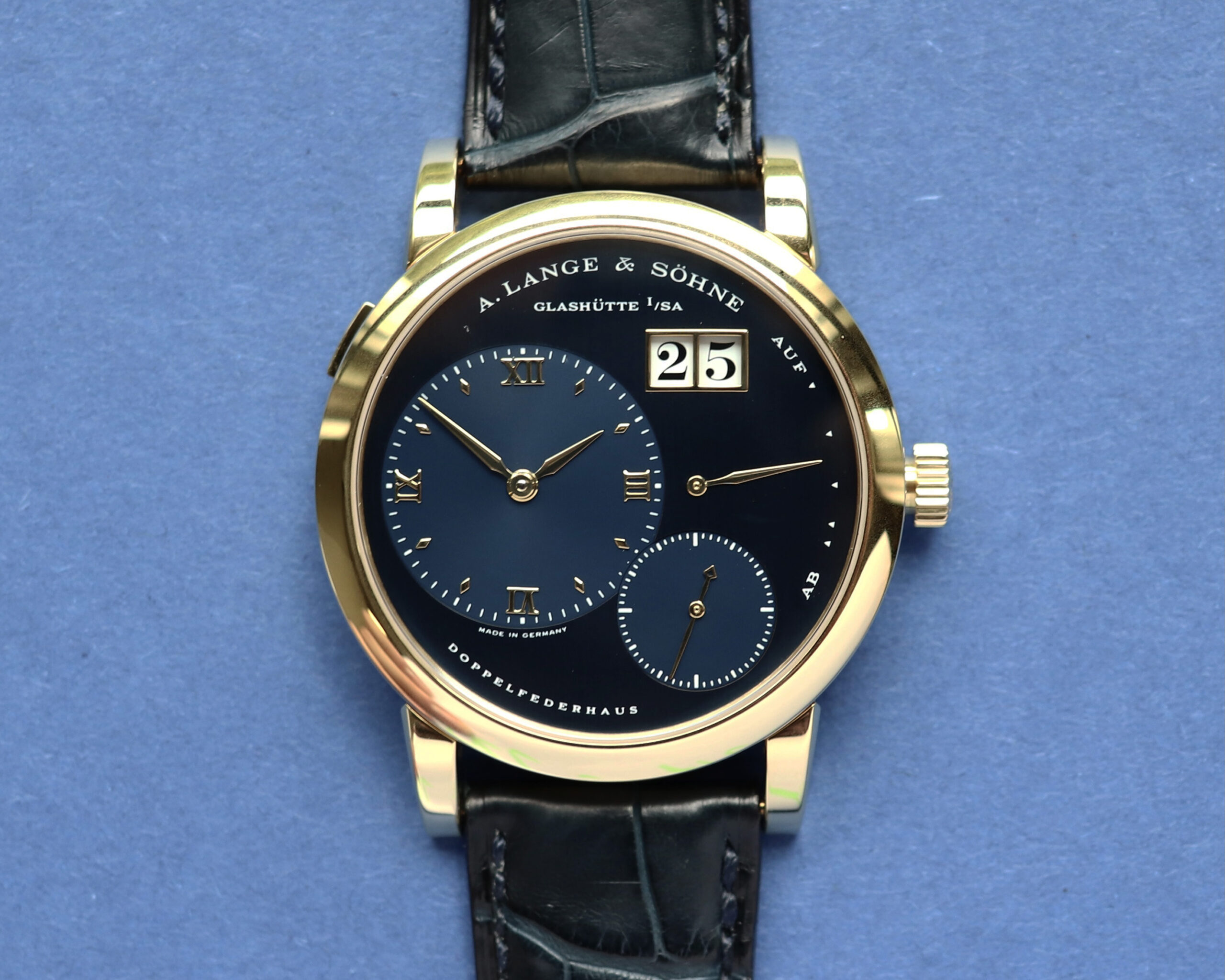 a lange söhne lange 1 yellow gold blue dial reference 101.028
