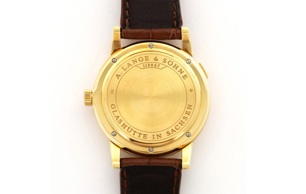 a lange söhne lange 1 yellow gold solid case back 101.001 back view