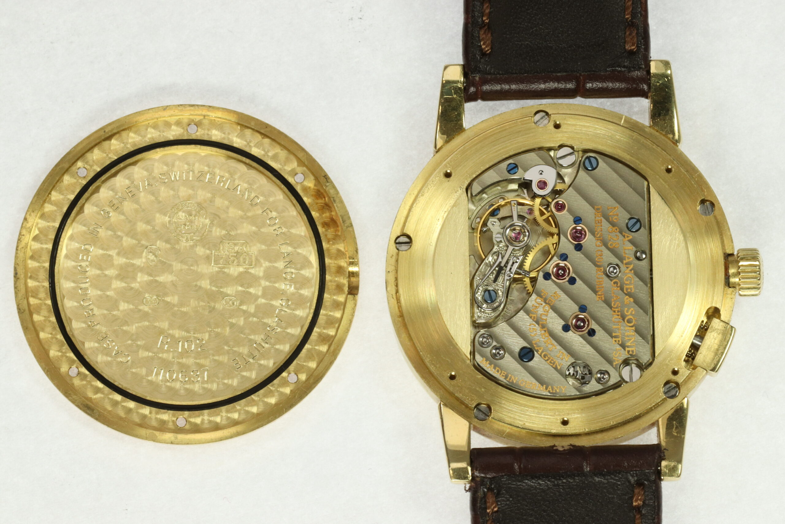 a lange söhne first saxonia with closed case back and yellow gold case, arkade movement inside