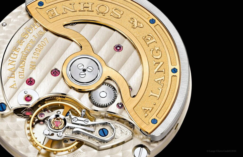 A Lange Söhne Saxonia Automatic caliber L086.5 gold plated rotor