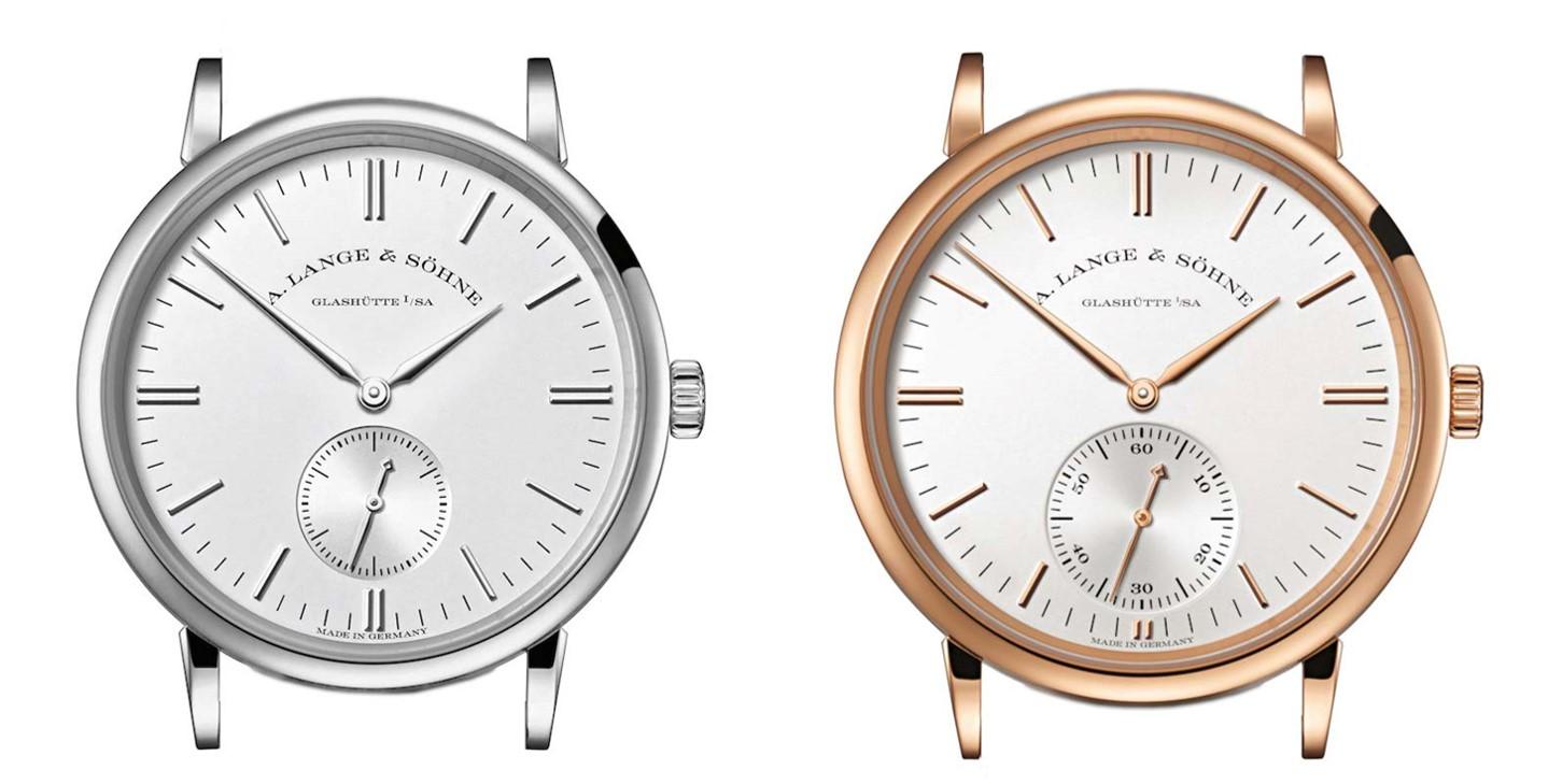A Lange Söhne Saxonia manual wind 219.026 white gold side by side comparison with 380.032 automatic