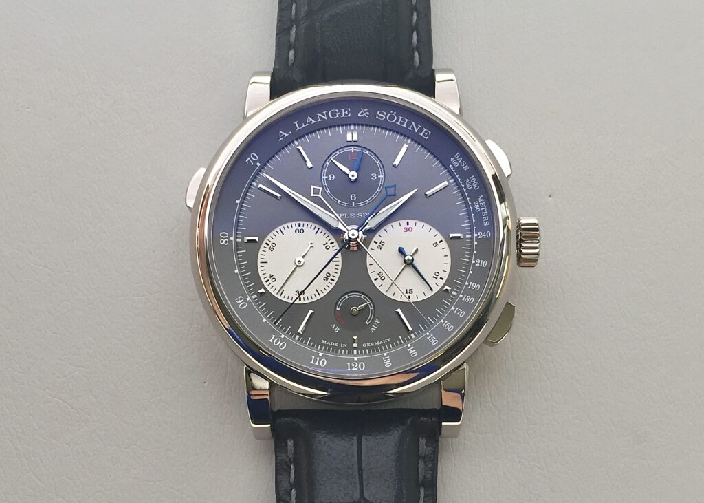 a lange söhne triple split chronograph white gold grey dial reference 424.038