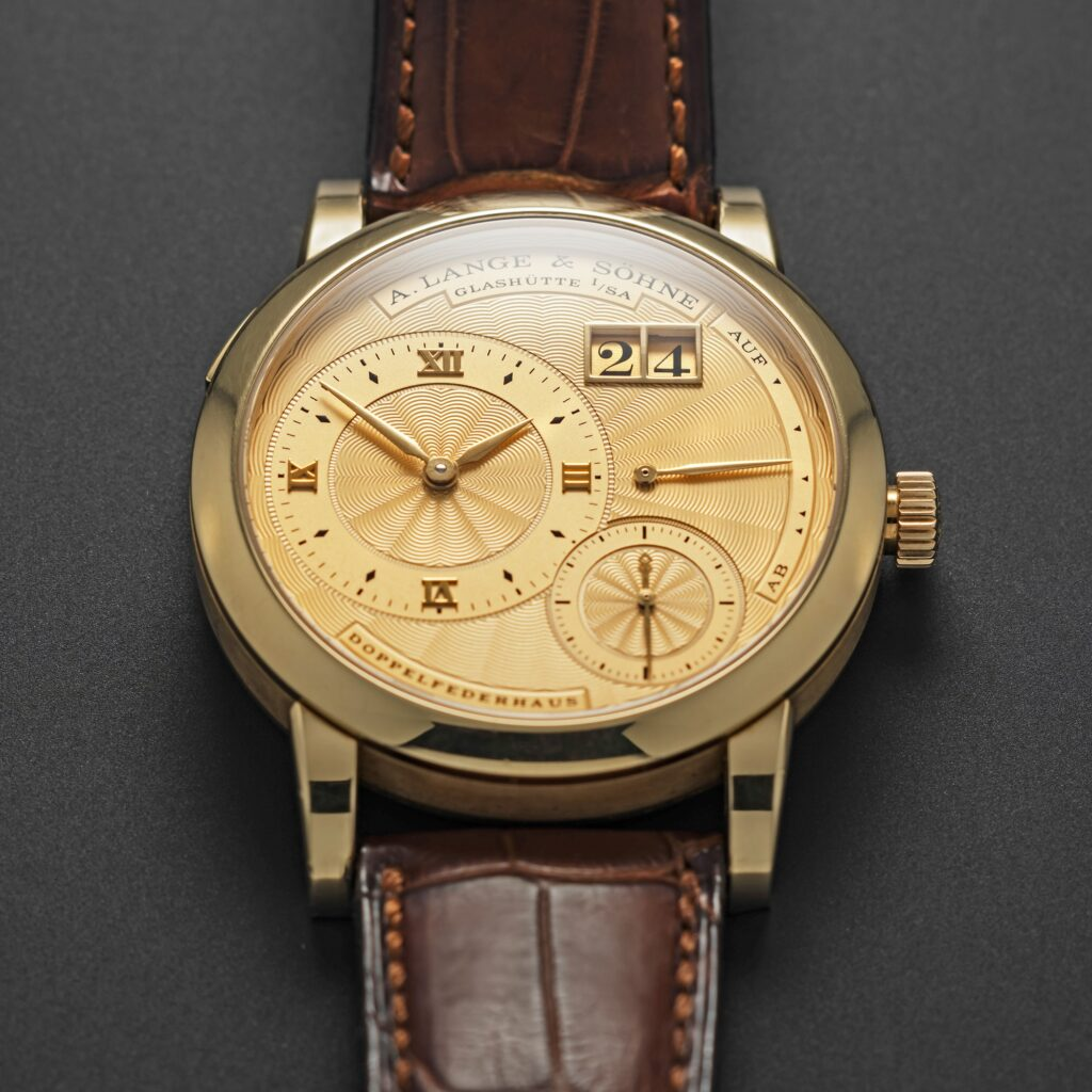 a lange söhne lange 1a solid gold guilloche dial 112.021