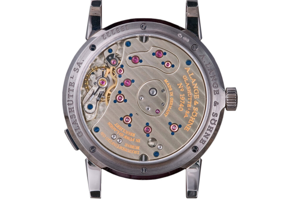 Caliber L901.0 three-quarter plate german silver with gold chatons movement