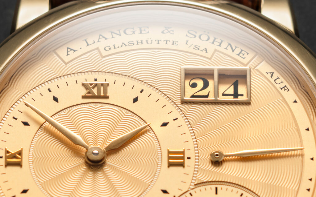 a lange söhne lange 1A yellow gold guilloche dial special edition reference 112.021