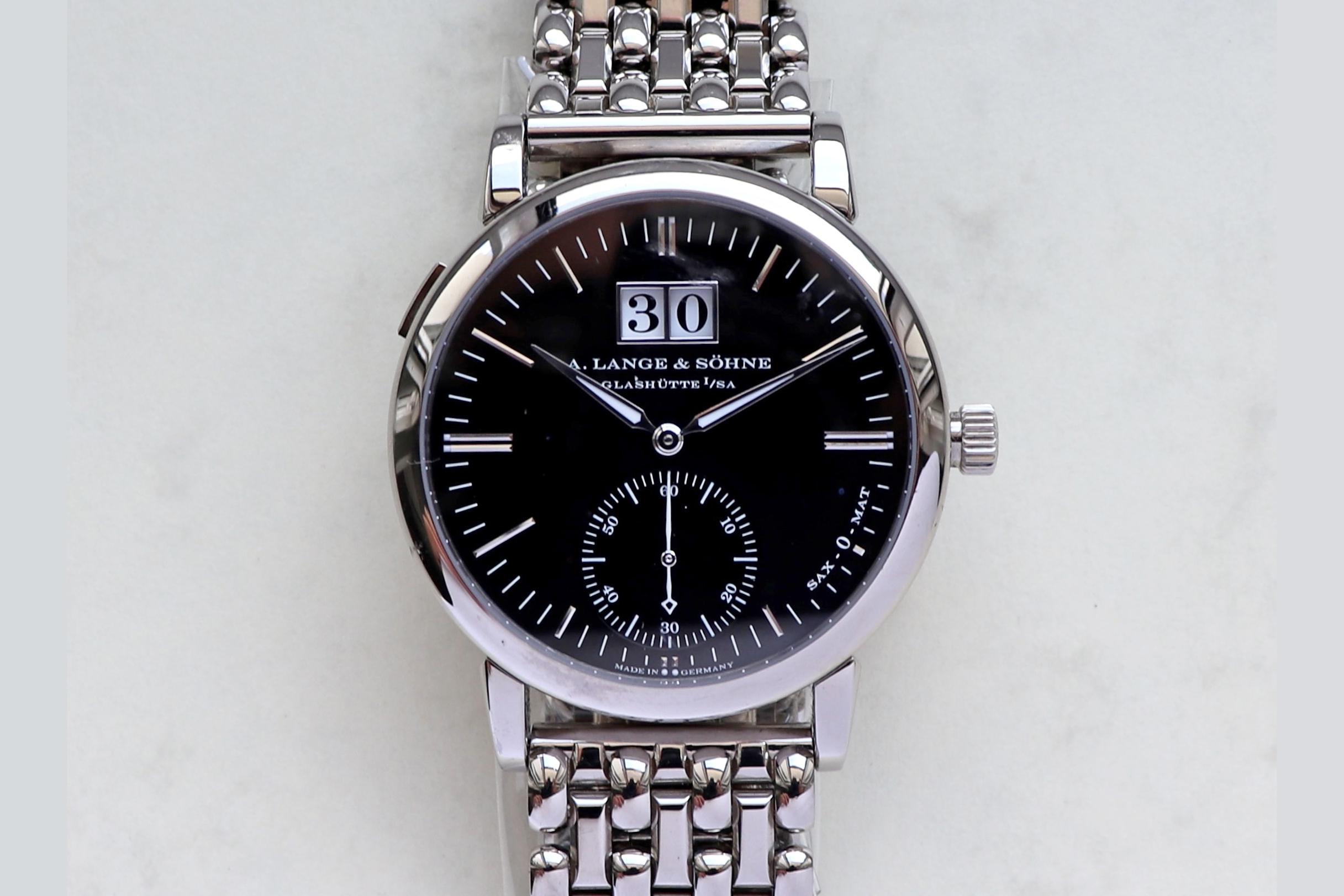 langematik big date white gold black dial 308.027 with wellendorff bracelet