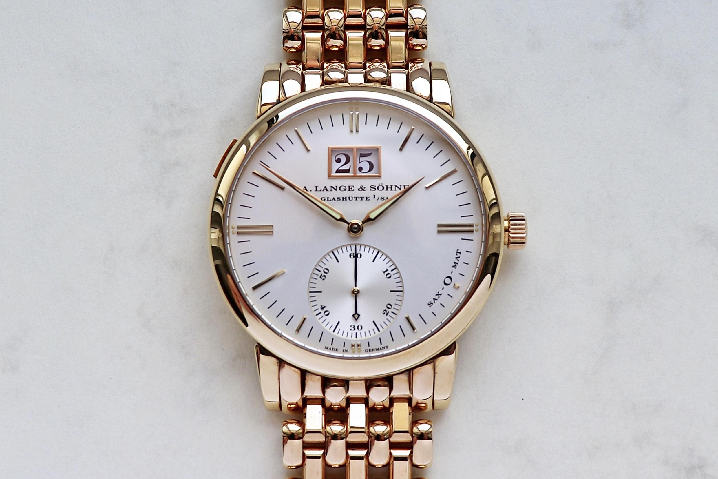 A lange söhne langematik big date pink gold wellendorff bracelet  308.032 - 358.032