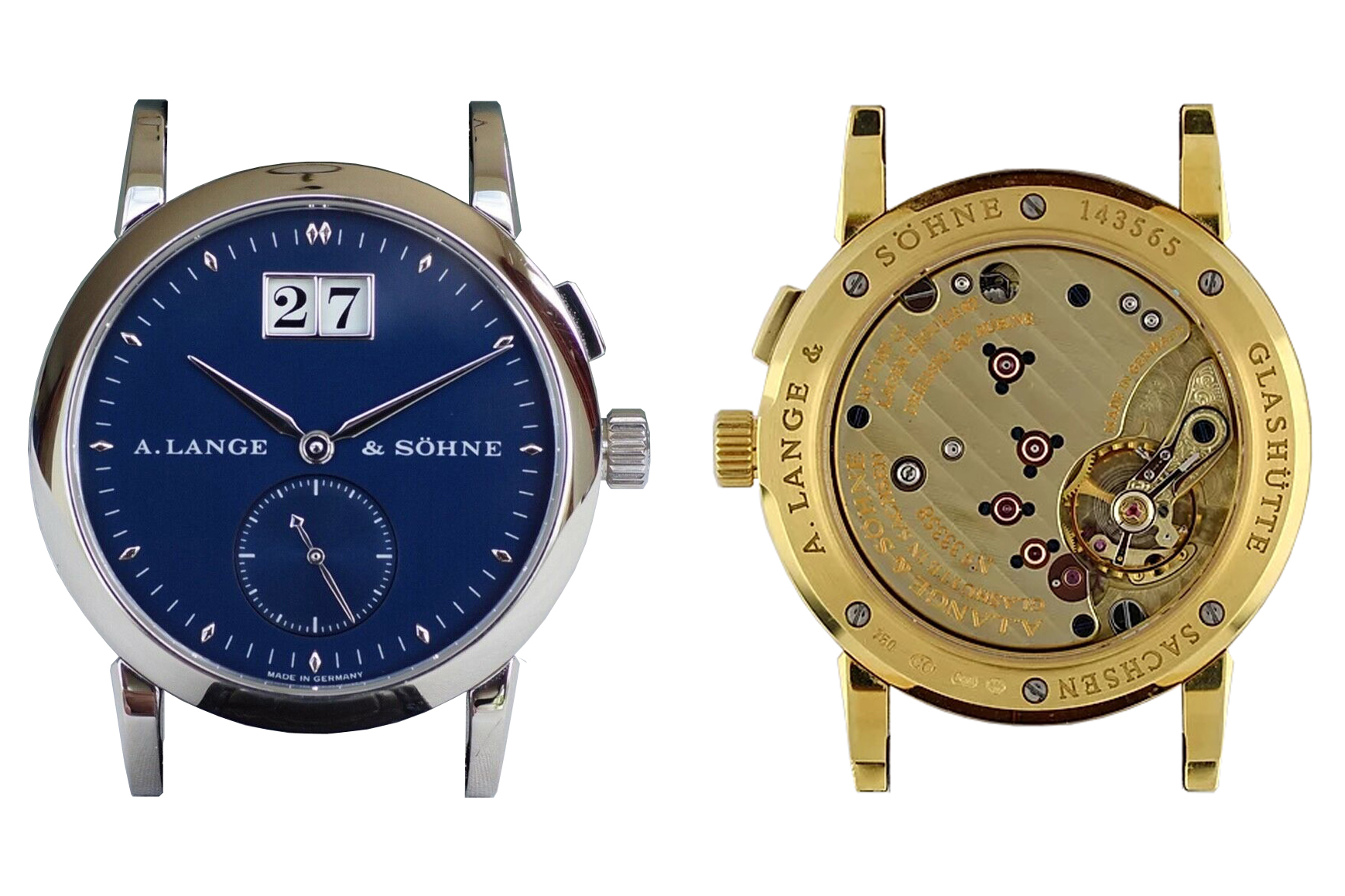 a lange söhne saxonia 34 mm reference 105.027 with white gold and blue dial