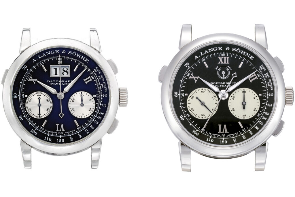 lange double split in platinum comparison with datograph