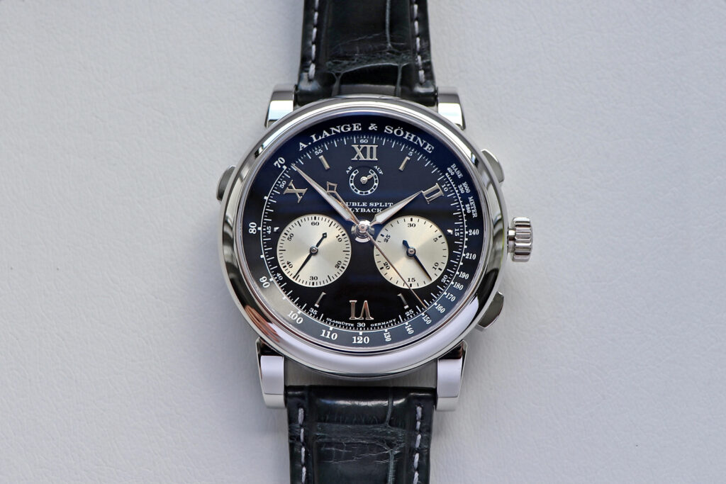 lange double split in platinum with black dial 404.035