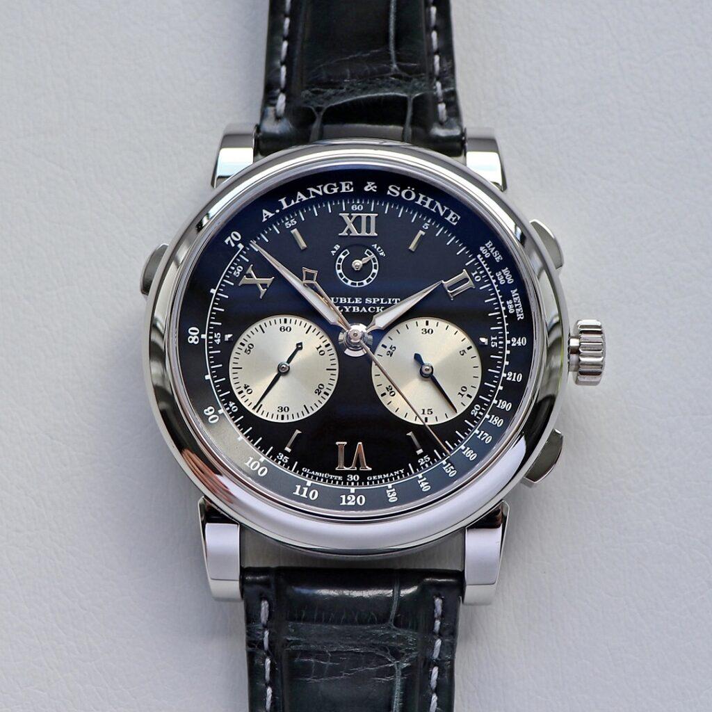 lange double split platinum with black dial 404.035
