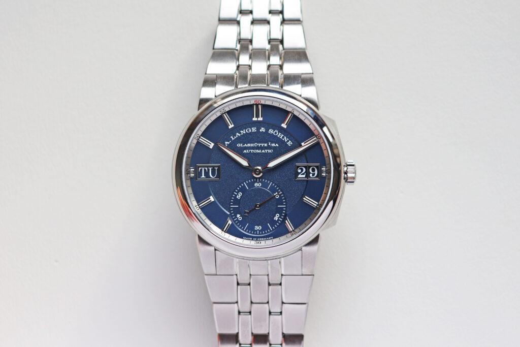lange odysseus in steel 363.179 blue dial sports watch