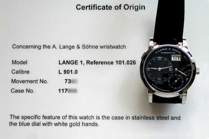 stainless steel lange 1 blue dial