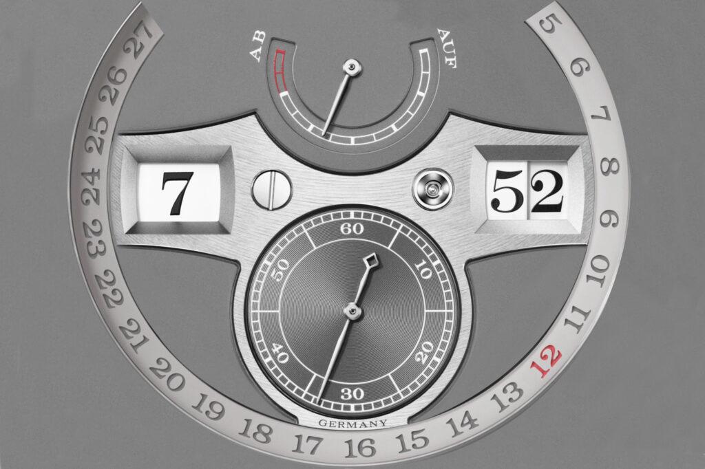 zeitwerk date 148.038 dial design with date ring